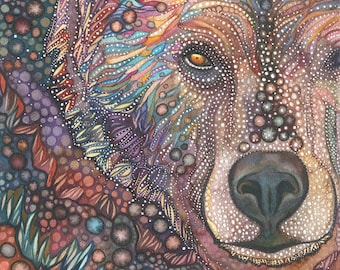 Bear Medicine  - print of watercolour painting, brown grizzly medicinal majestic sacred, spirit guide animal totem earth tones medicine