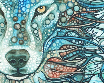 Timber Wolf -  print of watercolour artwork in sky blue gray turquoise teal grey palette, watercolor totem spirit animal guide art painting