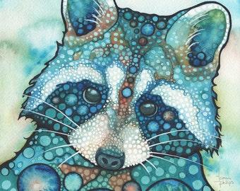 Raccoon - print of adorable watercolor painting artwork turquoise teal earth tones, animal portrait, cute wildlife cutie woodland urban