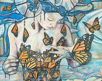 Butterfly Woman from Phthalo's Lake - print of whimsical & surreal monarch butterfly queen woman, watercolour canvas, earth tones fairytale