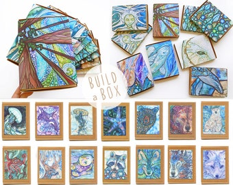 New! Build a Box - 8 cards, your choice, watercolour artwork, handmade cards, handcrafted box, made with love