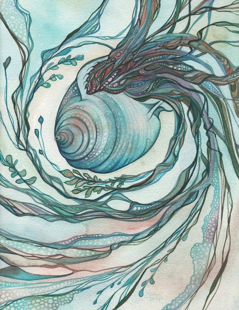 Siam Shell  print of detailed watercolour in beautiful aqua image 0