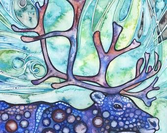 Caribou / Reindeer - print of watercolour artwork, northern lights aurora borealis, princess mononoke forest spirit animal boreal forest