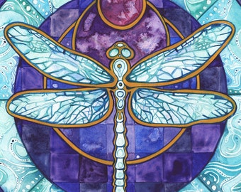 Dragonfly - print of watercolour artwork in earthy violet & turquoise, magic celtic fairy moon glow watercolor pendant wings realm magic