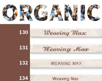 50 woven name tags, clothing labels - certified organic cotton GOTS