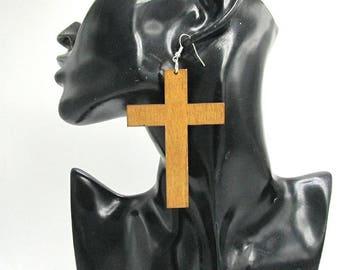 Wood Cross Earrings