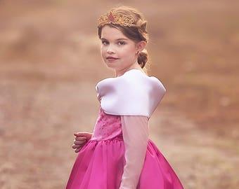 Princess Dress,  Sleeping Beauty Princess Costume, Princess Birthday Dress, Kids Satin Costume - Long Dress