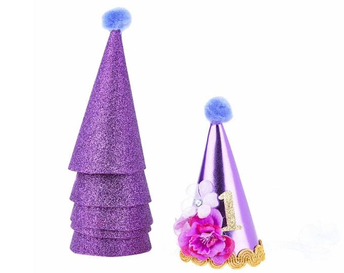 Rapunzel 1st Birthday Glitter Party Hat Set Handmade Tangled Inspired Princess