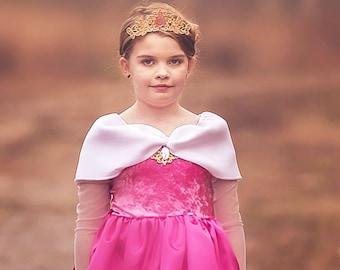 Sleeping Beauty Princess Aurora Costume, Aurora Dress Birthday Princess, Kids Satin Costume - Knee Length