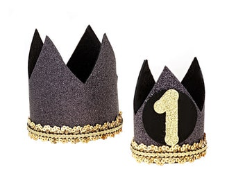 First Birthday Hat Boy 1st Outfit For Smash Cake Baby Party Hats Black Gold