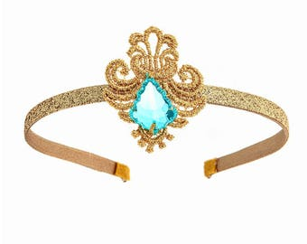 Girl's Shimmer & Shine Inspired Genie Princess Dress-Up Genie Costume Jewelry Headband, Cuffs, Necklace, Green Jewels