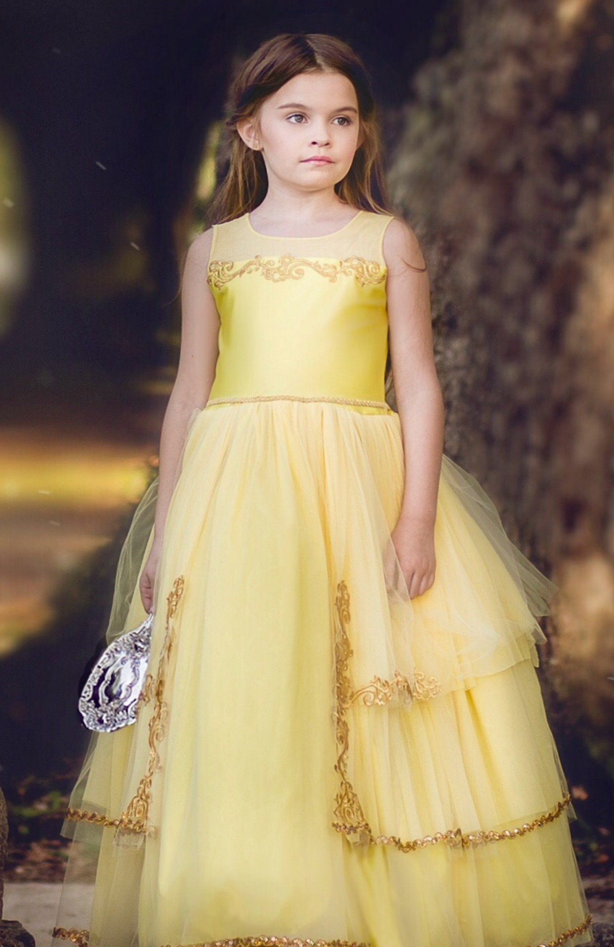 Girls Belle Princess Dress Beauty And The Beast Yellow Birthday