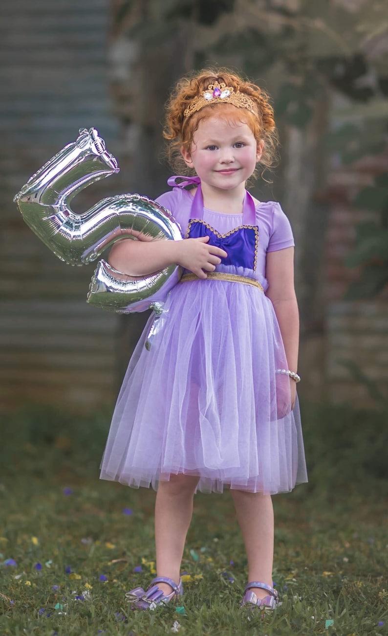 Rapunzel Inspired Princess Apron Dress and Crown Birthday Outfit Rapunzel Birthday Outfit