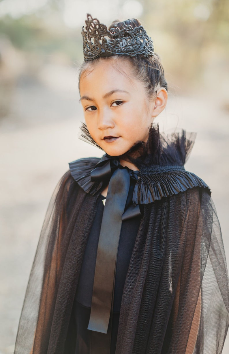 Maleficent Inspired Gothic Princess Dress Kids Halloween Costume Evil Princess Dress Cape Once Upon A Time Costume