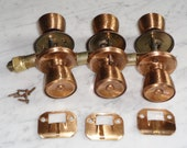 Copper Door Knobs Carriage House Style 3 Textured Knobs Plate Cover Vintage Sets