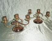 Silver Plate Triple Candlestick Taper Candle Holder Set Made in Japan