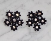 Rhinestone Clip On Earrings VINTAGE Silver Tone Metal Clear Rhinestone Lucite Flower Clip On Earrings
