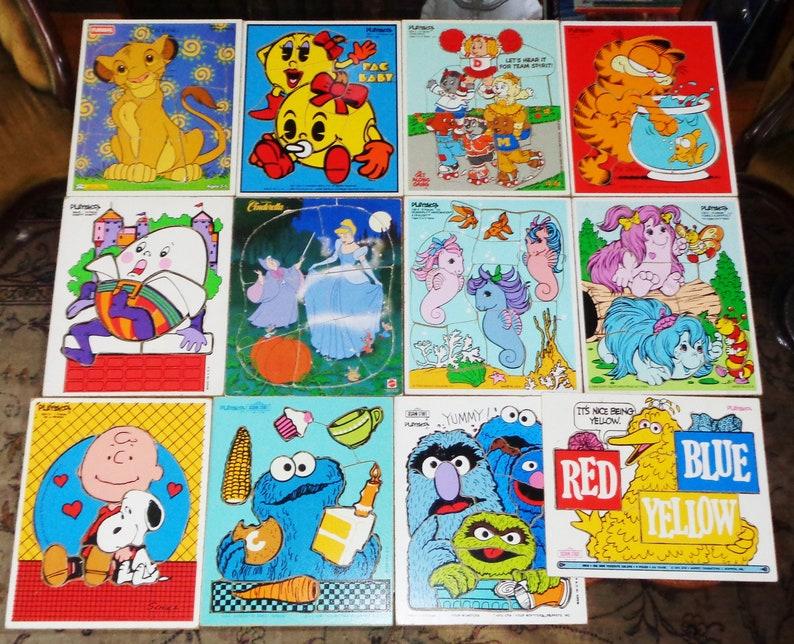 Playskool Wood Puzzles 12 Vintage ~ My Little Pony Garfield Pac-Man Sesame  Street Charlie Brown Snoopy Lion King+