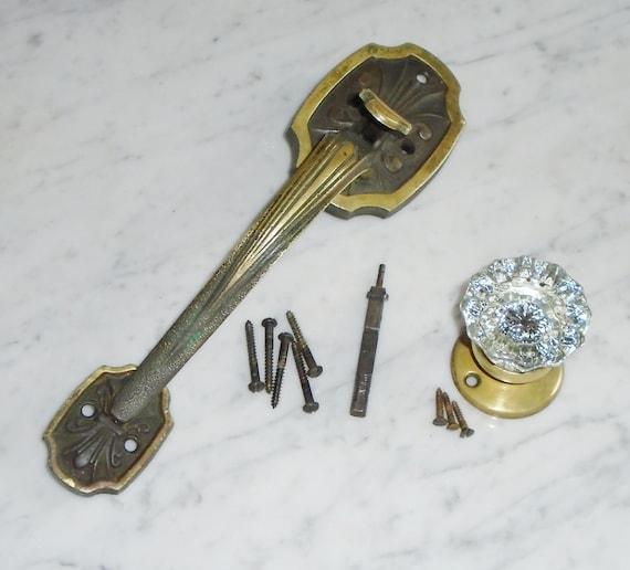 Antique Brass Art Deco Complete Door Handle Set w 11 inch | Etsy