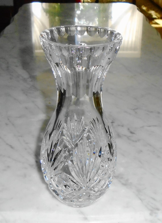 Waterford Crystal Bud Vase W 7 Tip Fan Checkered Pineapple Etsy