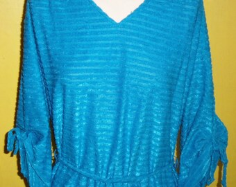 Vintage 3/4 Sleeve Belted Metallic Blue Dress by Lucy Jr Approx Womens Sz 12