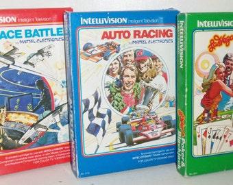 Mattel Intellivision Games~ Space Battle, Auto Racing, Vegas Poker~w Boxes &instructions