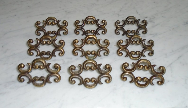 Signd Canada Batwing Brass Cabinet Drawer Pull Handles 9 Vintage Ornate Gothic