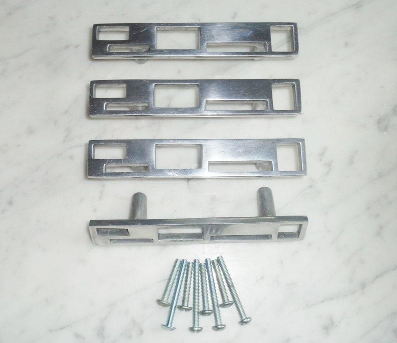 Du Verre Marcel Polished Aluminum Set of 4 Cabinet Door Drawer Pull Handles SUPER RARE