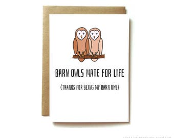 Anniversary love card. card for husband, boyfriend, wife or girlfriend. Owl card.