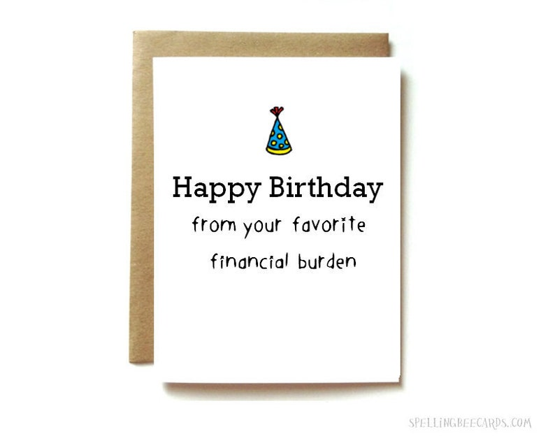 Funny Birthday Card For Mom Or Dad Parent