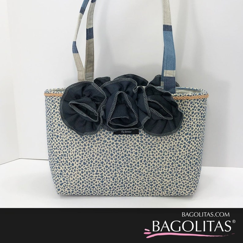 Blue Leopard BAGOLITA with Ruffle and Trim image 0
