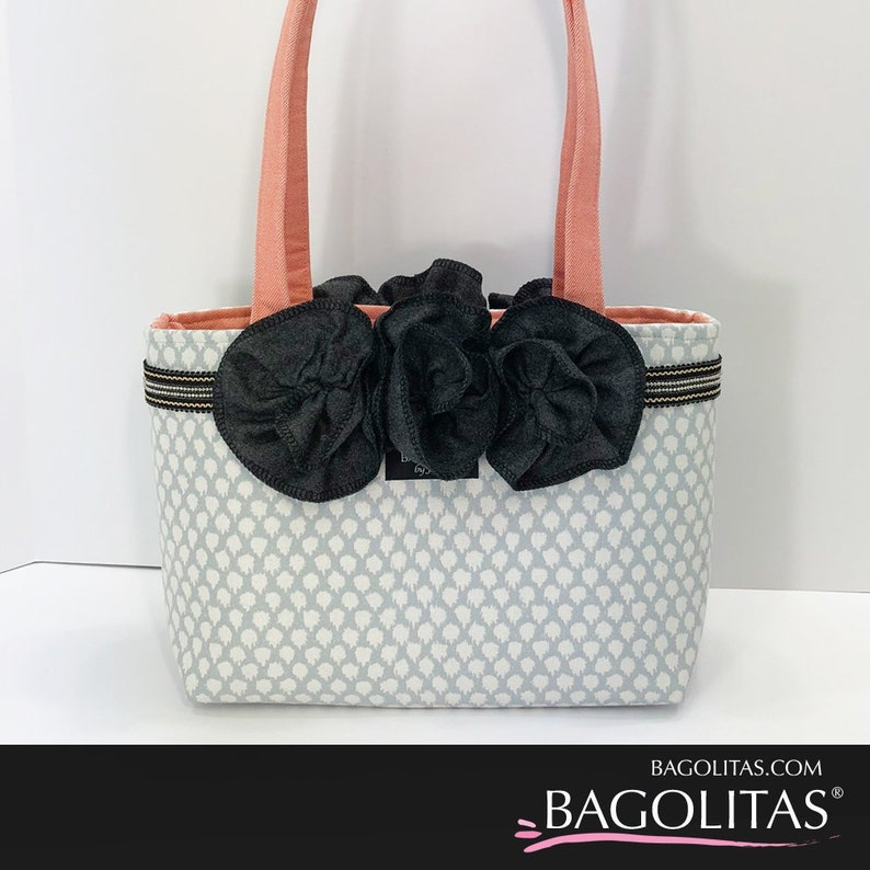 Gray and White Print BAGOLITA with Ruffles Trim and a Coral image 0