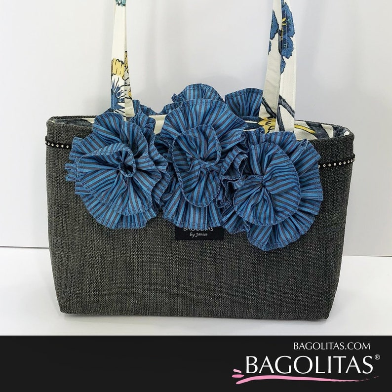 Denim BAGOLITA with Striped Ruffle and Trim image 0