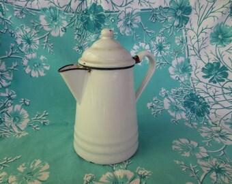 NEW PRICE Vintage White Enamelware Coffeepot