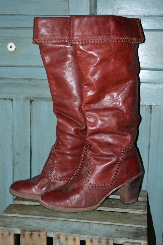 RARE 80's Zodiac 12 Leather Cowboy Cowgirl Knee Hi