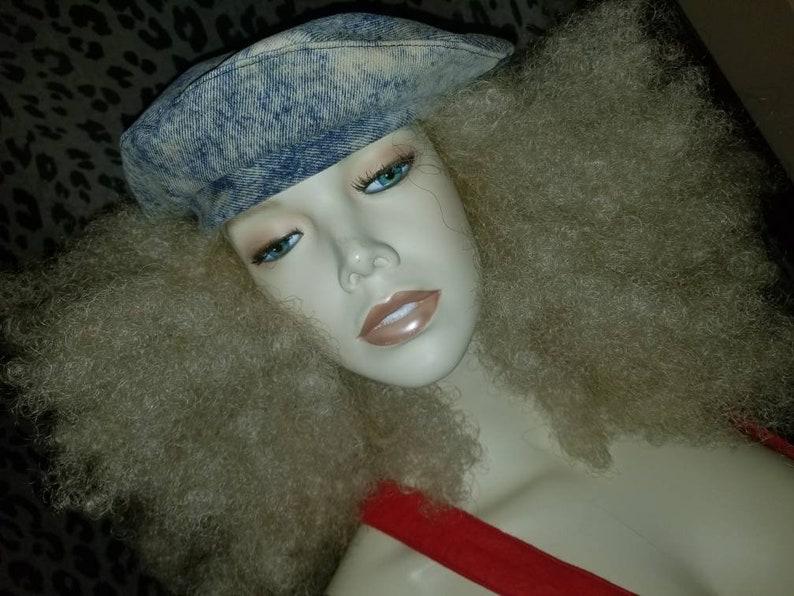 NWT 90's Acid Wash Denim Beanie Beret Hat Toboggan Cap Jean Stone Washed  Kid N Play Rapper Rap FUNKY Fresh Rhymes Prince Raspberry Funk Town