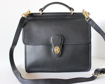 f7fa847c6f Near EXCELLENT Vintage COACH Black Cross Body Willis Shoulder Satchel Bag  HANDBAG 9927