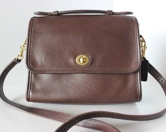 6e46a0c3497 Refurbished Vintage COACH Brown Cross Body COURT Satchel Bag HANDBAG 9870