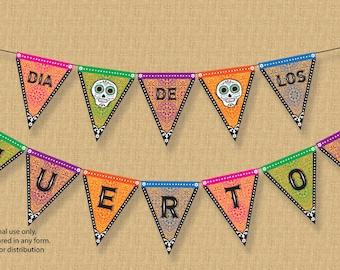 Halloween Decorations, Day Of The Dead Banner, Bunting, Dia de Los Muertos Banner, Party Decor, Printable, Sugar Skulls, Mexican, DIY