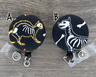 Retractable Badge Holder - Fabric Covered Button - Skeleton Dog and Cat