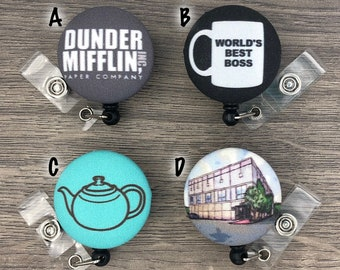 Retractable Badge Holder - Fabric Covered Button - The Office (TV - US)