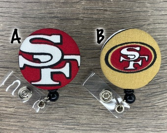 Retractable Badge Holder - Fabric Covered Button - San Francisco 49ers