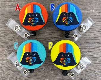 Retractable Badge Holder - Fabric Covered Button - Star Wars Rainbow Darth Vader
