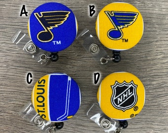 Retractable Badge Holder - Fabric Covered Button - St. Louis Blues