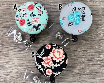 Retractable Badge Holder - Fabric Covered Button - Gardens of the Galaxy