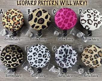 Fabric Covered Button Retractable Reel Badge Holder - Leopard Prints