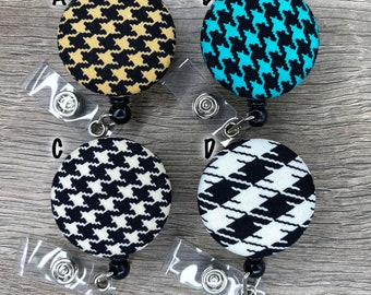 Retractable Badge Holder - Fabric Covered Button - Houndstooth