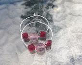 Pink and red Swarovski crystal hoop earrings