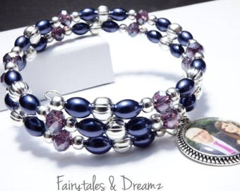 Purple/blue Photo Bracelet, Memorial Photo Bracelet , Custom Photo Bracelet, Memory Wire, Wrap Bracelet, Photo Jewelry , 16mm Photo ,UK