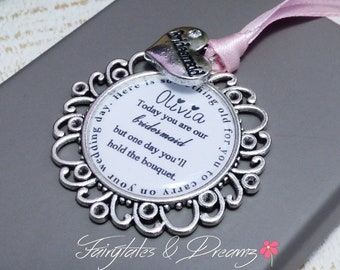 bridesmaid gift wedding keepsake BRIDESMAID personalised bouquet charm